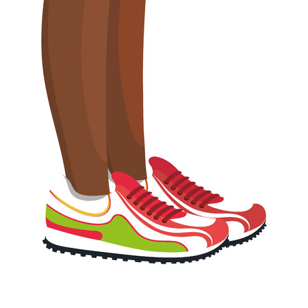 young girl feet: Athletes feet running isolated vector illustration design