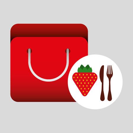 grocery bag strawberry nutrition fruit vector illustration eps 10