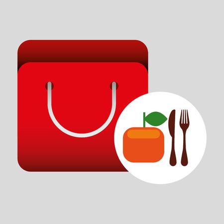 grocery bag orange nutrition fruit vector illustration eps 10