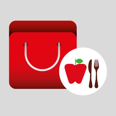 grocery bag apple nutrition fruit vector illustration eps 10