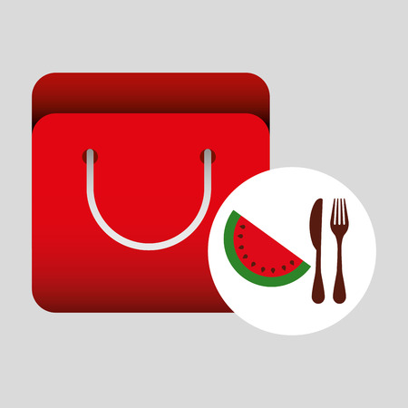 grocery bag: grocery bag watermelon nutrition fruit vector illustration eps 10
