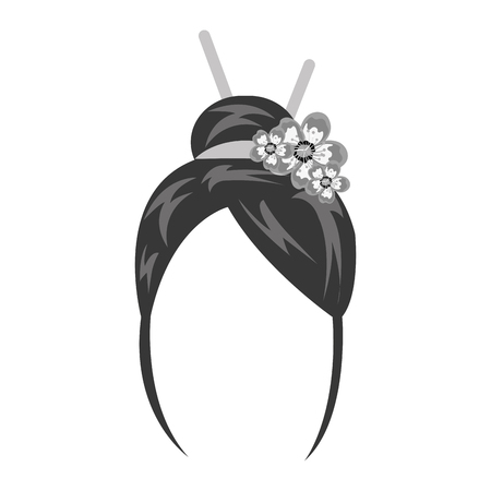 wig: geisha wig hair style icon vector illustration design