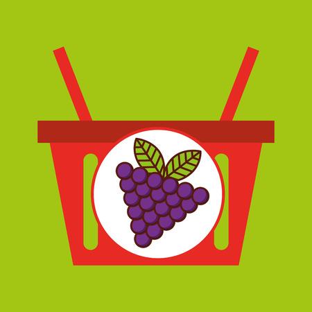 basket shopping grapes juicy fruit vector illustration eps 10