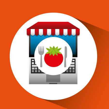 tomato online shopping app vector illustration eps 10