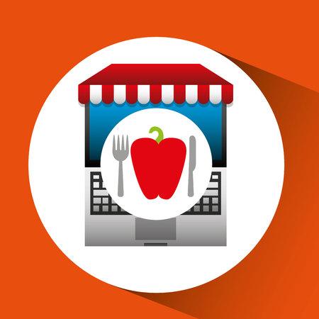pepper online shopping app vector illustration eps 10
