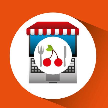 cherry online shopping app vector illustration eps 10