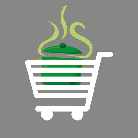 shopping cart food delicious soup vector illustration eps 10