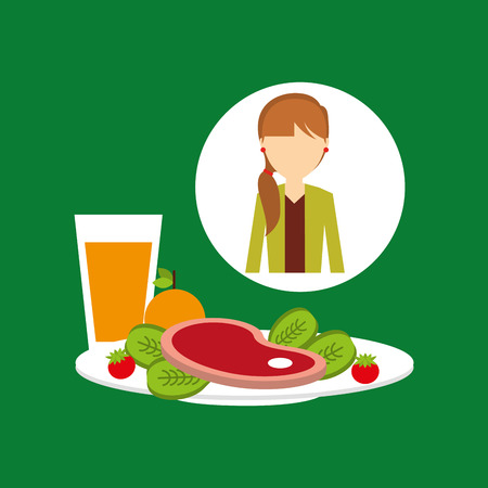 healthy food girl with plate food vector illustration eps 10