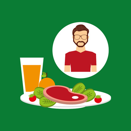 healthy food man with plate food vector illustration eps 10