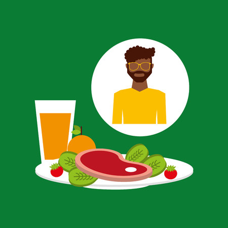 food plate: healthy food man with plate food vector illustration eps 10