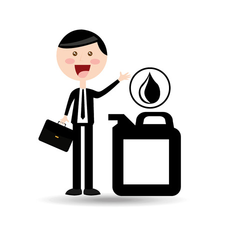 businessman oil concept gallon drop oil vector illustration eps 10 Illustration