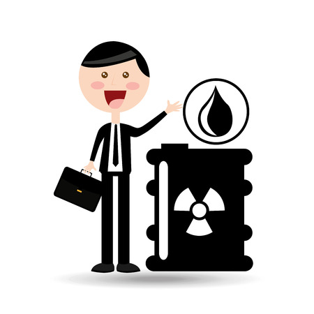 dumpster: businessman oil concept radioactive material vector illustration eps 10