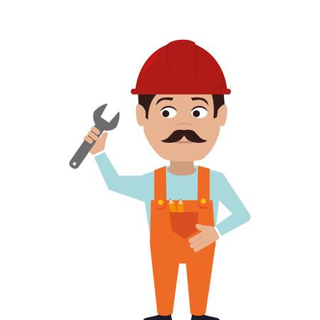 repairman character working icon vector illustration design