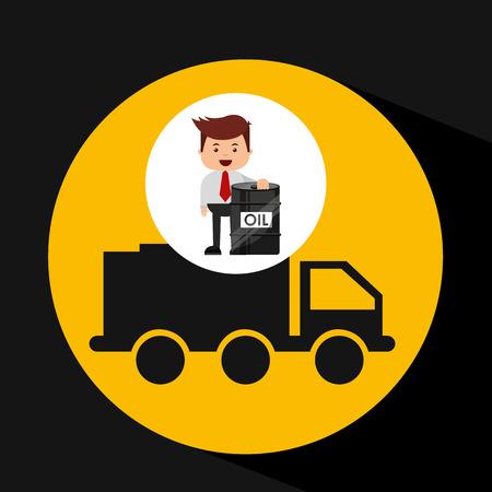 businessman oil industry truck transpsort vector illustration eps 10