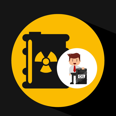 businessman oil industry nuclear barrel vector illustration eps 10 Illustration