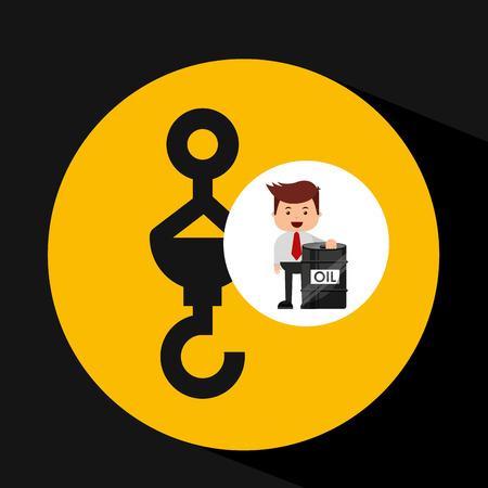 businessman oil industry hook perforation vector illustration eps 10