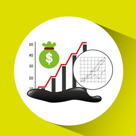 oil drum: bag money graph oil industry growth diagram background vector illustration eps 10 Illustration
