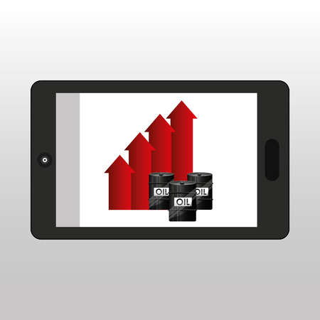 business oil smartphone growth graph vector illustration eps 10