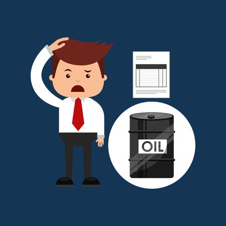 sad businessman: oil and petroleum industry sad businessman finance vector illustration eps 10