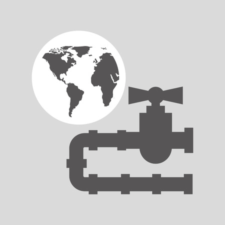 gas pipeline: world oil industry consumption gas pipeline vector illustration eps 10