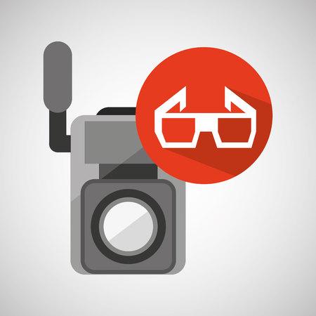 movie video camera 3d glasses icon vector illustration eps 10