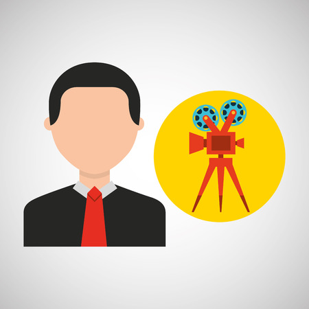 businessman movie camera film icons vector illustration eps 10