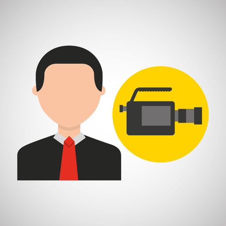 businessman movie camcorder icons vector illustration eps 10 Illustration
