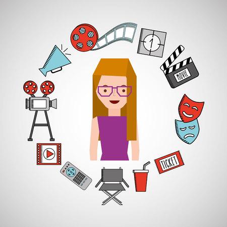 viewer: cartoon girl cinema movie icons vector illustration eps 10