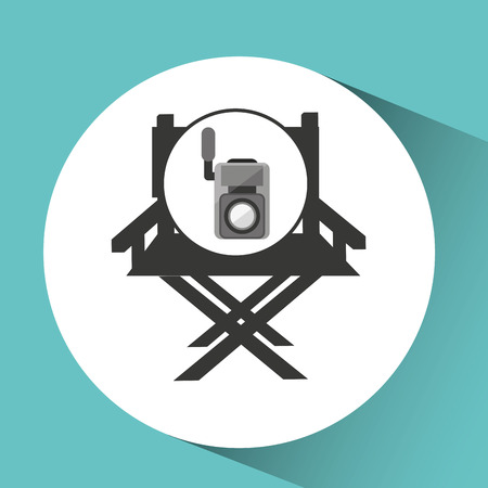 director chair: movie video camera director chair vector illustration eps 10
