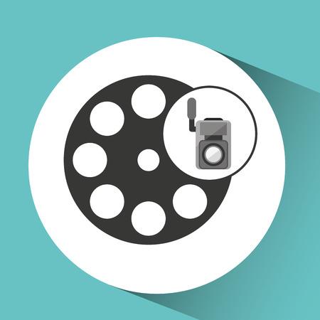 movie video camera film reel icon vector illustration eps 10
