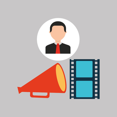 businessman movie strip film megaphone icons vector illustration eps 10
