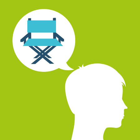director chair film silhouette head think movie vector illustration eps 10