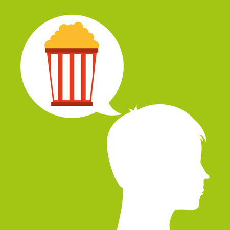 pop corn silhouette head think movie vector illustration eps 10
