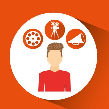 cinematographer: cartoon guy movie icons vector illustration eps 10 Illustration