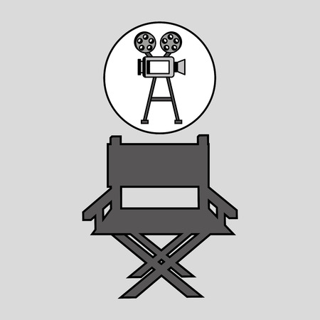 movie director: camera film vintage with movie director chair vector illustration eps 10