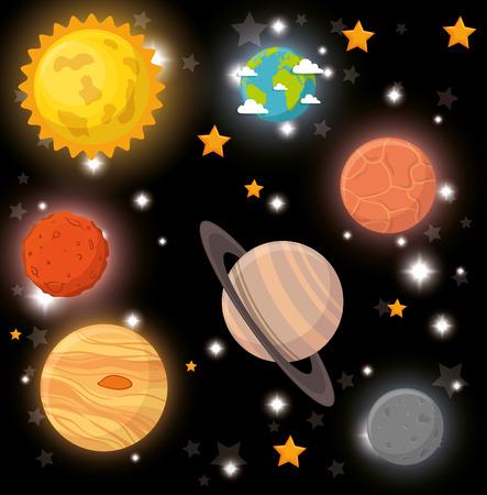 universe planets space concept vector illustration design