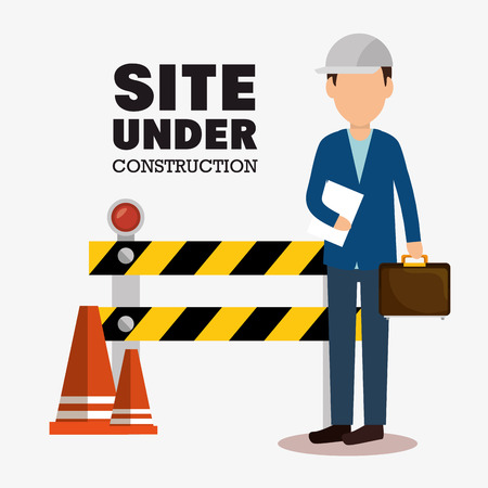 industrial construction: site under construction icon vector illustration design