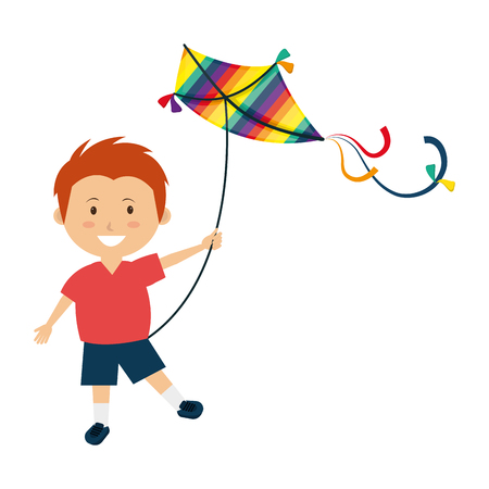Colorful kite Flying over white background, vector illustration.