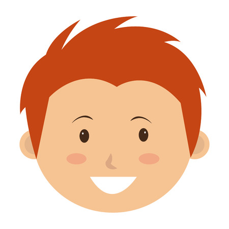 child hair: Little and cute kid smiling over white background, vector illustration.
