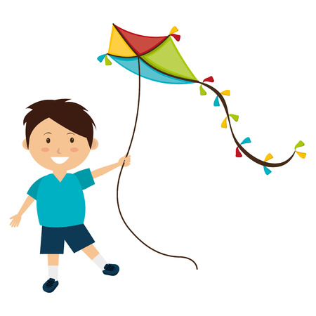 Colorful kite Flying over white background, vector illustration.