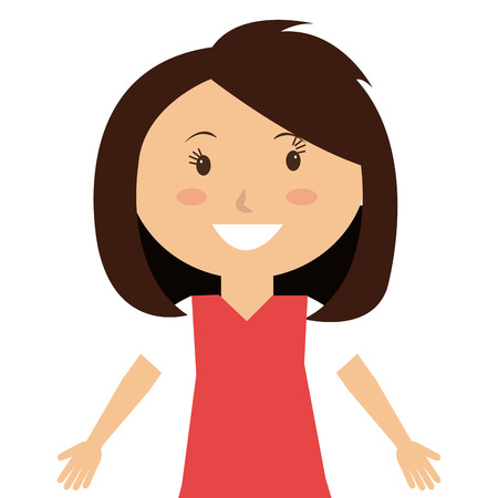 Little and cute kid smiling over white background, vector illustration.