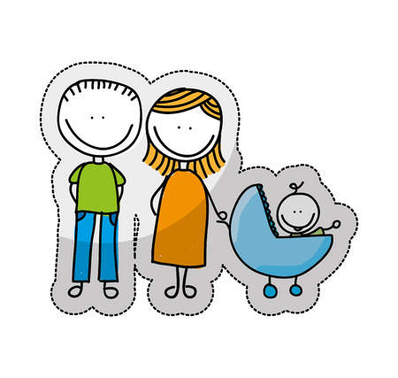 group of young adults: cute little family character icon vector illustration design
