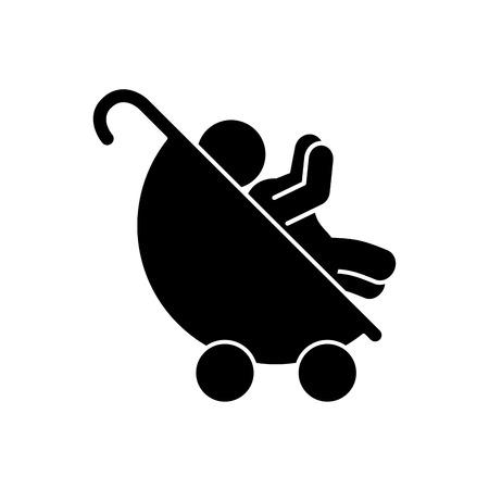 Schattige baby in winkelwagen geïsoleerde pictogram vector illustratie ontwerp
