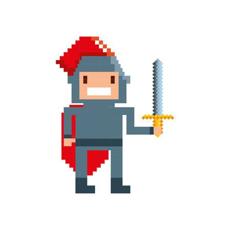 pixelated: game warrior pixelated icon vector illustration design Illustration
