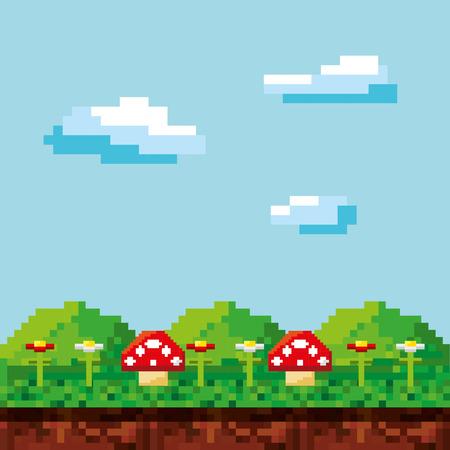 escena del juego pixelado fondo ilustración vectorial de diseño