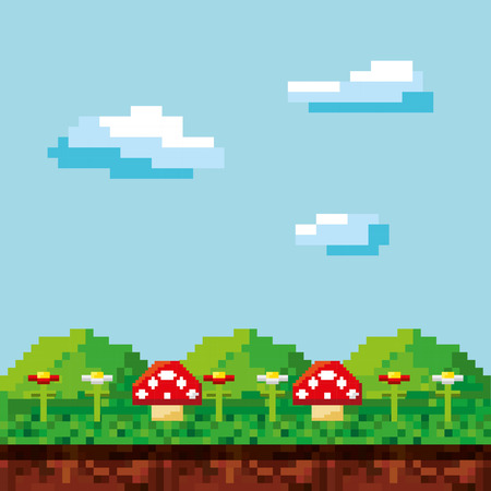 Spelscène pixelated achtergrond vectorillustratieontwerp Stockfoto - 67003417