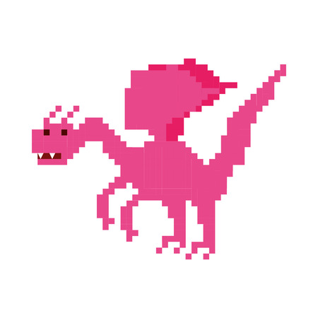 pixelated: dragon beast pixelated icon vector illustration design