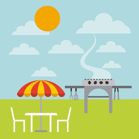 barbecue grill and parasol with chairs over landscape background. colorful design. vector illustration Illustration