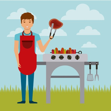 grilling: cartoon man with a barbecue grill over landscape background. colorful design. vector illustration