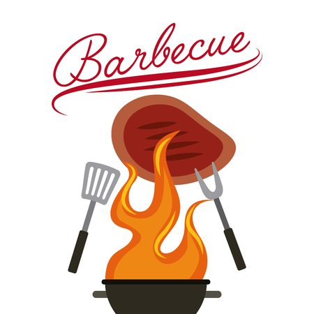 barbecue grill with utensils and steak of meat over white background. colorful design. vector illustration Illustration